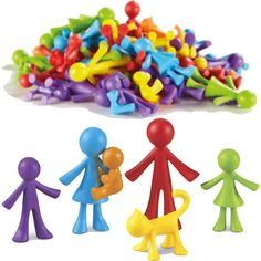 "VERSATILE ""FAMILY"" FIGURES (36-PIECES) A Great Play Therapy Tool! These versatile, non-detailed figures in six bright colors can represent ALL races as well as different ages. In addition to the typical family, additional family members or significant others, can be represented (i.e. step-parents, same gender parents, siblings, friends, grandparents, etc.). Every family member comes in each of 6 colors so that they can also be paired with emotions (red-angry, blue-sad, yellow-happy, etc.)."