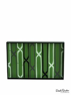 Dwell Studio by Global Views Linking Trellis Lacquered Wood Tray, Black/Green