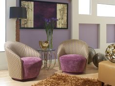 Chic living room, living room design, purple living room, comfy chairs, Genevieve with Zig Zag Living Room