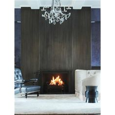 Blackened Steel Fireplace from Aguirre Design Inc