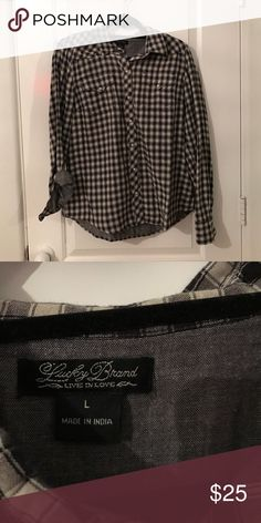 Plaid Button down Black and white only worn a hand full of times Lucky Brand Tops Button Down Shirts