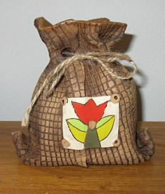Pokladnička+-+Tulipán+Šířka+++-+12cm+Výška+++-+13cm Burlap, Reusable Tote Bags, Hessian Fabric, Jute, Canvas