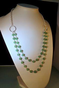Halskette, Silberdraht gefüllt, Jade  Preis: 52,00 EUR