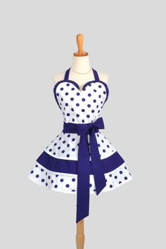 Sexy Retro Pinup Apron , Flirty and Cute Retro Womens Apron in Purple and White Dots