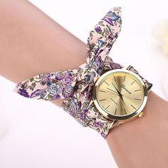 Montre 2017 Vogue Floral Strap Wristwatch Women's Jacquard Cloth Quartz Watch Women Geneva Bracelet Watches Relogio Feminino