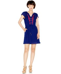 Maison Jules Embroidered Drawstring Dress - Maison Jules - Women - Macy's