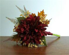Single Large Burgundy Red Dahlia Silk Flower Bouquet accented with Tan Gypsophila, Spike Fern, & Autumn Leaves #fallweddings #PosiesPearls