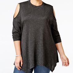 9bbb221a75b438 Women Plus Size Deep Black Cold-Shoulder Sparkle Swing Top 1X  44.50   Styleco  Blouse  Career