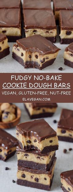 fudgy no-bake cookie dough bars are chocolatey, rich, and gooey! - Desserts -These fudgy no-bake cookie dough bars are chocolatey, rich, and gooey! Cookie Dough Vegan, Biscuit Vegan, No Bake Cookie Dough, Cookie Dough Recipes, Desserts With Cookie Dough, Gluten Free Cookie Dough, Brownie Recipes, Brownie Cookies, Cookie Dough Brownies