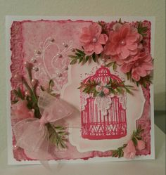 Valentine's card - I like the birdcage printed in red