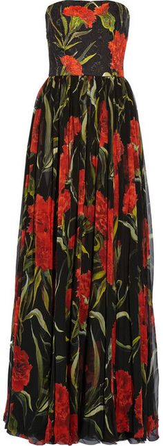 Dolce & Gabbana Printed floral-brocade and chiffon gown on shopstyle.com