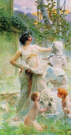~ Paul François Quinsac ~ French painter, 1858-1929: La Sculpture