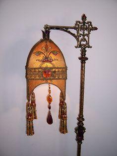 Gothic Heraldic Vestment Jeweled and Hand-Beaded Tasseled Cast iron lamp $2325