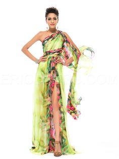 Fashion Floral Printed Split-front One Shoulder Prom Dress Evening Dresses 2015- ericdress.com 11176040