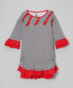 Black & Red Chevron Ellie Dress - Infant, Toddler & Girls by Sage & Lilly #zulily #zulilyfinds