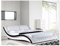 """Modern White Eastern King Bed Includes 1 Eastern King Bed Dimensions Eastern King Bed, 93"""" x 102"""" x 31""""H - http://amzn.to/29hSejF"""