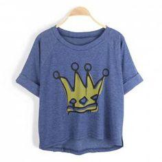 Casual Style Scoop Neck Crown Print Irregular Bottom Turn-Up Design Short Sleeves Cotton Blend T-Shirt For Women