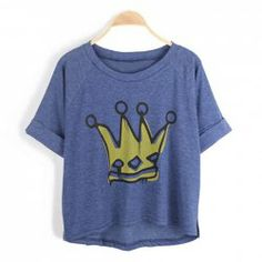 $8.69 Casual Style Scoop Neck Crown Print Irregular Bottom Turn-Up Design Short Sleeves Cotton Blend T-Shirt For Women