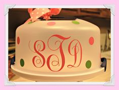 """DIY """"I used Monogram KK which is a free font from www.abstractfonts.com/font/12545 Using my Sure Cuts A Lot software I cut the initials from vinyl on my Cricut. It is a favorite font of mine and it actually cuts very well to be so curly. I think these make great gifts for any occasion and especially if a homemade cake is included. """""""