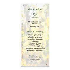 Sprig of Forsythia Wedding Program by Susan Savad -- Forsythia wedding program that you can customized yourself.  #wedding  #weddingprogram #weddingprograms #gettingmarried #customize #flower #flowers #forsythia #forsythias #yellow #spring   $0.55  per card   BULK PRICING AVAILABLE!