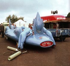 Engineers work on the 'Bluebird', which holds the World Land Speed Record - UK - 1 August 1962