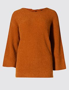 Rear Bow Bouclé Jumper with Wool   M&S