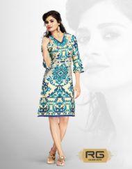 V Neck Style Cotton Digital Printed Blue Kurti