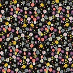 Woven cotton black w small flowers