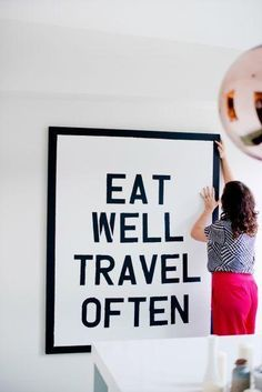 Eat well, travel often. Home decor poster. Black and white poster with quote. Vie Simple, Do It Yourself Inspiration, Decoration Inspiration, Decor Ideas, Interior Inspiration, Travel Inspiration, Diy Ideas, Up House, Home And Deco