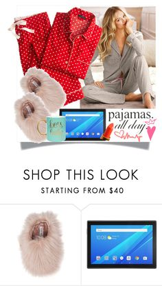"""""""PJs All Day"""" by westcoastcharmed ❤ liked on Polyvore featuring Lauren Conrad, Steve Madden, Lenovo and LovelyLoungewear"""