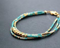 Golden Sky Bracelet - Gold Vermeil Nuggets - Blue and Gold Seed Bead Bracelet