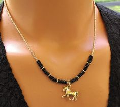 Gold Horse Charm Necklace Black Spinel Necklace Beaded Charm Necklace Equestrian Jewelry Gift For Her Teen Necklace Womans Necklace by TamDavisDesigns on Etsy