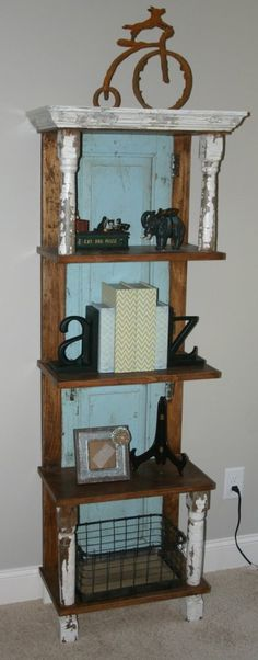 Vintage Repurposed Shelf!  Old porch spindles, old wood window shutters and barnwood make this a one of a kind shelving piece