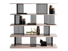 Double-sided bookcase, structure composed of laser cut L-shaped lacquered steel sheets, black matte finish. Small Furniture, Deco Furniture, Cabinet Furniture, Home Furniture, Furniture Design, Cabinet Shelving, Display Shelves, Wall Shelves, Storage Shelves