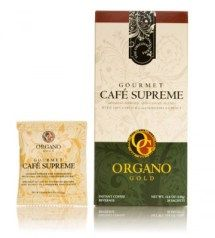 GOURMET CAFE SUPREME.  Featuring the Superior Panax Ginseng plant, which was considered an herb of such great value in the ancient world that it was only available to people of great power and privilege.    Organo Gold's Gourmet Café Supreme combines the power of Ginseng and 100% Certified authentic Organic Ganoderma, for a smooth latte blend perfect for coffee drinkers looking for a natural lift to their day. 20 Sachets Per Box  $38.00