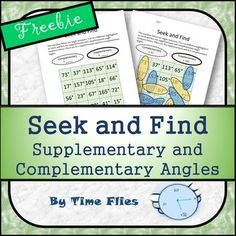 This is a fun way to have students practice finding supplementary and complementary angles. This is a part of Are You College Ready Packet Geometry Resources Available: Geometry Lessons, Teaching Geometry, Geometry Activities, Fun Math Activities, Math Resources, Teaching Math, Teaching Ideas, Math Games, Math Lessons