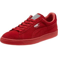 Puma Suede Classic Mono Iced Women's Sneakers ($70) ❤ liked on Polyvore featuring shoes, sneakers, sports shoes, laced shoes, sports trainer, metallic sneakers and suede sneakers