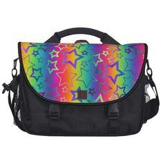#Psychedelic #Rainbow #Stars #Laptop #Messenger #Bag
