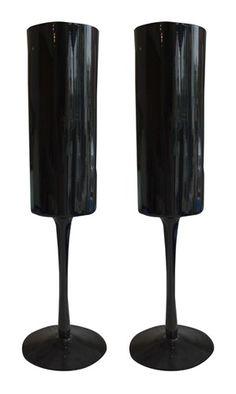 Pair of Very Tall Modern Black Glasses - $195. #converttoblack