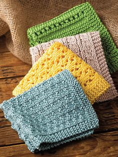 Knitting Pattern for Simply Washcloths - 4 different stitch patterns make pretty washcloths. Each washcloth finishes up approximately 10 inches square. Knitted Washcloth Patterns, Knitted Washcloths, Dishcloth Knitting Patterns, Crochet Dishcloths, Knit Or Crochet, Bead Crochet, Knitting Stitches, Crochet Crafts, Knit Patterns