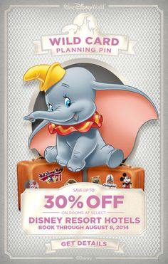 Save up to 30% on rooms at select Disney Resort hotels, valid for stays most nights August 16 through October 3, 2014. Book now through August 8, 2014!