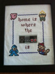 Nintendo cross-stitch via The A.V. Club