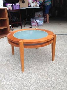 End tables.  WOuld be cool if the stain was darkened and replaced with a clock in the center like the Arhaus end tables in stores