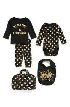Little ELEVENPARIS My Mother Is A Superhero Tee, Pants, Bodysuit & Bib Set (Baby Girls)