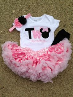 Pink and black minnie mouse birthday outfit - 2nd birthday shirt petti skirt and headband - custom birthday shirt on Etsy, $48.00