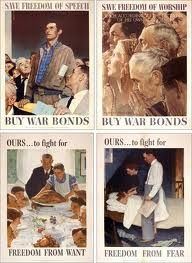 The Four Freedoms-Freedom of Speech, Freedom of Religion, Freedom from Want, Freedom from Fear----  Norman Rockwell