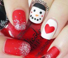 Christmas Nails: Matte Snowman Nails - - New Ideas White Nail Designs, Best Nail Art Designs, Holiday Nail Art, Christmas Nail Art, Christmas 2016, Nail Art Diy, Diy Nails, Matte Nails, Marble Gold