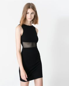 Image 4 of COMBINED TUBE DRESS WITH SHEER PANEL from Zara