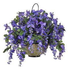 House of Silk Flowers Artificial Wisteria Hanging Basket, Dark Violet/Blue -- Learn more by visiting the image link.