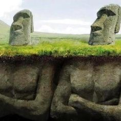 It was recently discovered (2012) that the Easter Island 'heads' actually had bodies attached to them, that had been burried over time.